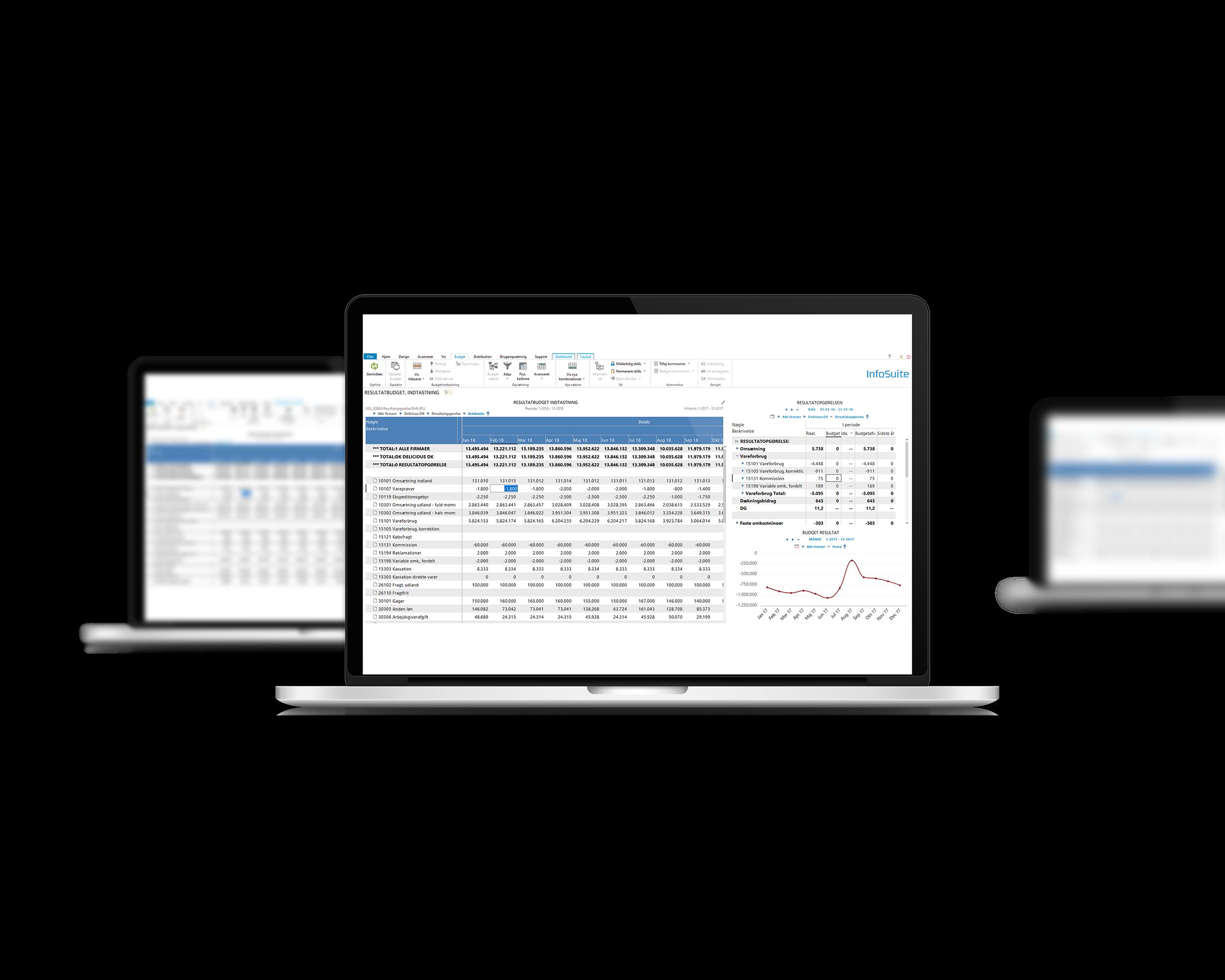Arbejd med resultatbudget i InfoSuite Budget